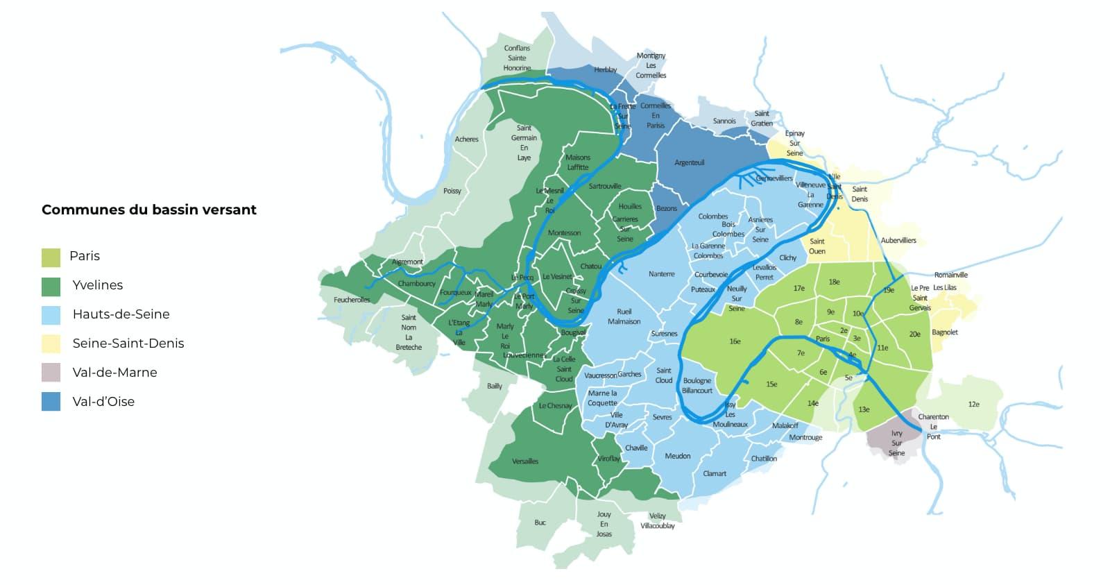 Carte des communes du bassin versant